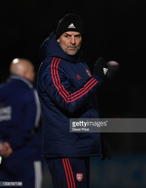 Steve Bould the Arsenal U23 Manager during the match Premier League International Cup between Arsenal U23 and Leicester City U23 at Meadow Park on...