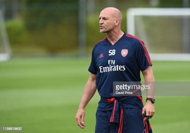 Steve Bould the Arsenal U23 Manager during the U23s training session at London Colney on July 02 2019 in St Albans England
