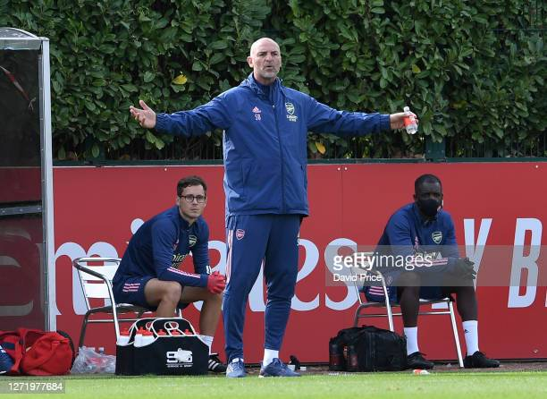 Steve Bould the Arsenal U23 Manager gestures during the Premier League 2 match between Arsenal U23 and Southampton U23 at London Colney on September...