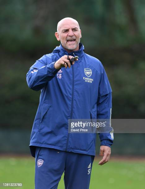 Steve Bould the Arsenal U23 Manager reacts during the Arsenal U23 training session at London Colney on October 20 2020 in St Albans England