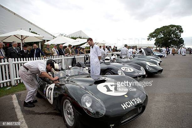 Steve Boultbee Brooks in his 1958 ListerJaguar 'flat iron' in the Assembly Area prior to the Sussex Trophy race at Goodwood on September 9 2016 in...