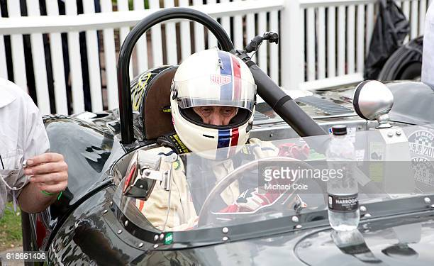 Steve Boultbee Brooks in his ListerJaguar 'flat iron' in the Assembly Area prior to the Sussex Trophy race at Goodwood on September 9 2016 in...