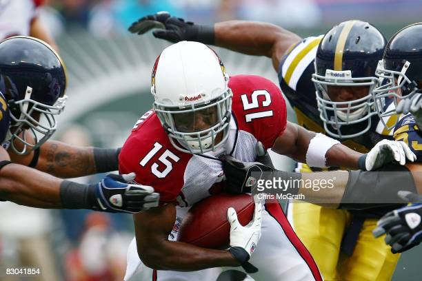 Steve Breaston of the Arizona Cardinals tries to make a break against the New York Jets on September 28 2008 at Giants Stadium in East Rutherford New...