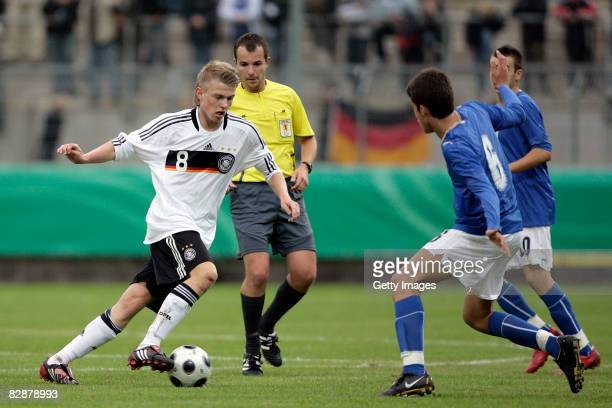 Steve Breitkreuz of Germany fights for the ball during the mens U17 international friendly match between Germany and Italy on September 18, 2008 in...