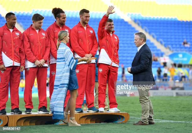 Steve Brown CEO of the Rugby Football Union presents the medals to England following the Rugby Sevens Men's Bronze Medal match between England and...