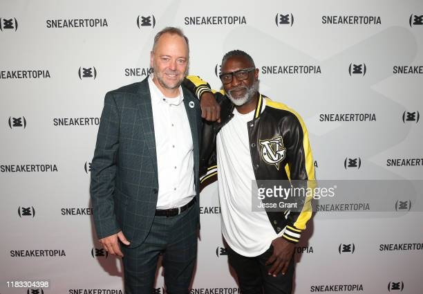 Steve Brown Sneakertopia CFO Cofounder and Steve Harris Sneakertopia CEO Cofounder attend the Sneakertopia Los Angeles VIP Preview at HHLA on October...