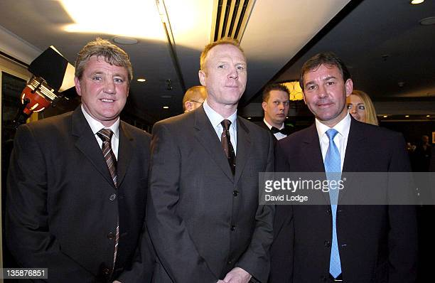 Steve Bruce Alex McLeish and Bryan Robson during HMV Football Extravaganza 2005 at Grosvenor House Hotel in London Great Britain