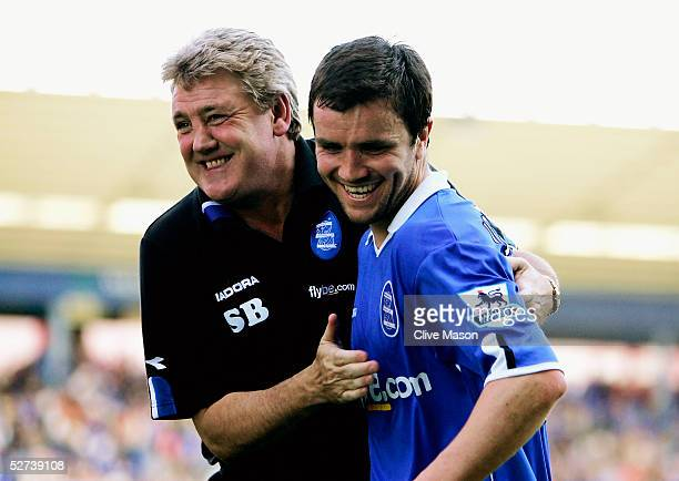 Steve Bruce and Damien Johnson of Birmingham City celebrate at the end of the Barclays Premiership match between Birmingham City and Blackburn Rovers...