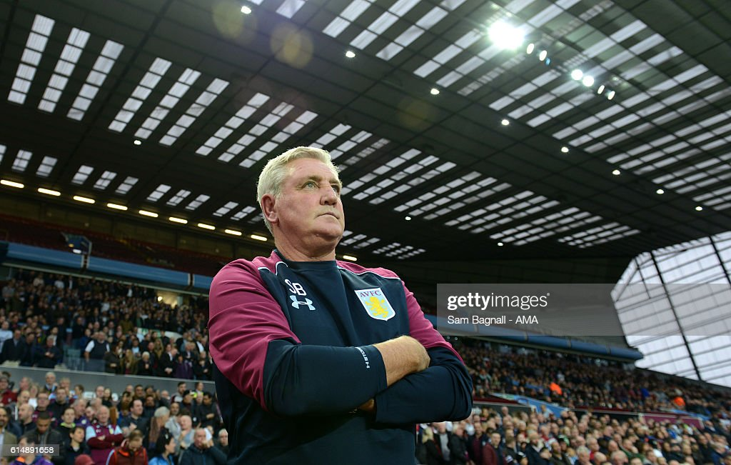 Steve Bruce manager / head coach of Aston Villa during the Sky Bet Championship match between Aston Villa and Wolverhampton Wanderers at Villa Park on October 15, 2016 in Birmingham, England.