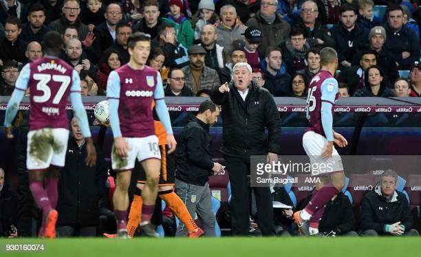 Steve Bruce manager / head coach of Aston Villa during the Sky Bet Championship match between Aston Villa and Wolverhampton Wanderers at Villa Park...