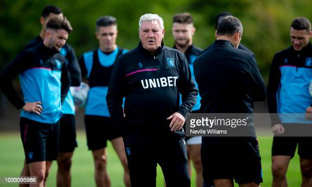 Steve Bruce manager of Aston Villa during a training session at the club's training ground at Bodymoor Heath on September 14 2018 in Birmingham...