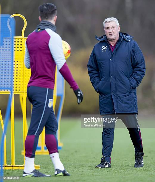 Steve Bruce manager of Aston Villa during a training session at the club's training ground at Bodymoor Heath on January 13 2017 in Birmingham England