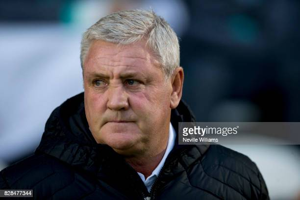 Steve Bruce manager of Aston Villa during the Carabao Cup First Round match between Colchester United and Aston Villa at the Colchester Community...