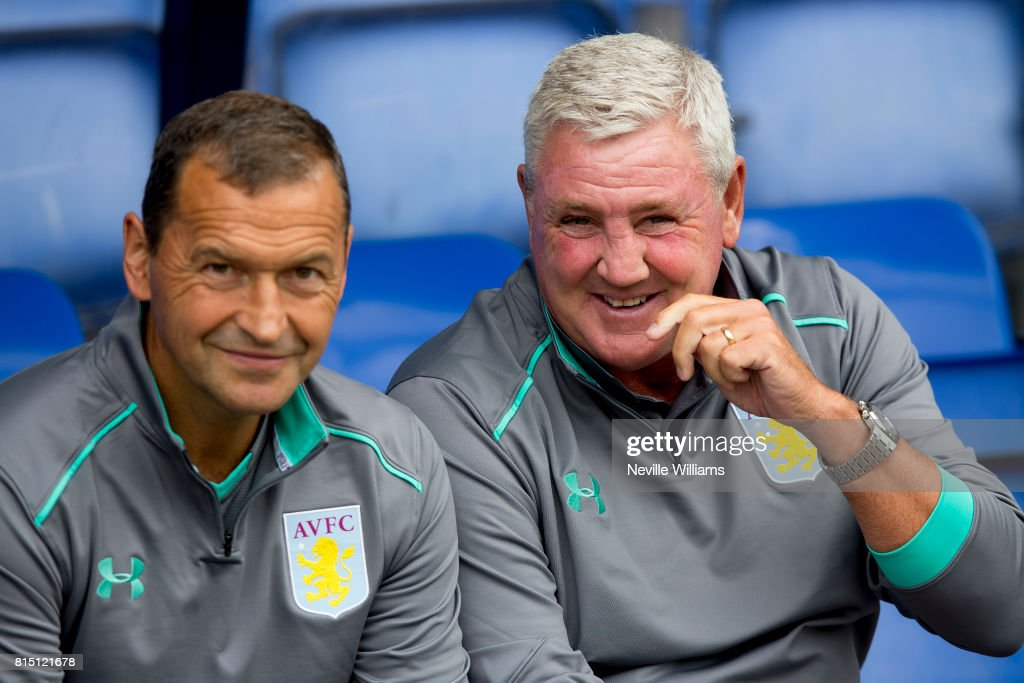 Steve Bruce manager of Aston Villa during the Pre-Season Friendly match between Shrewsbury Town and Aston Villa at the Greenhous Meadow on July 15, 2017 in Shrewsbury, England.