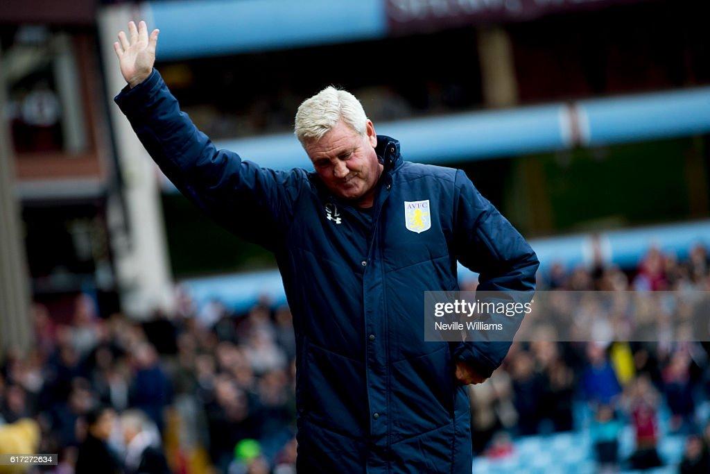 Steve Bruce manager of Aston Villa during the Sky Bet Championship match between Aston Villa and Fulham at Villa Park on October 22, 2016 in Birmingham, England.