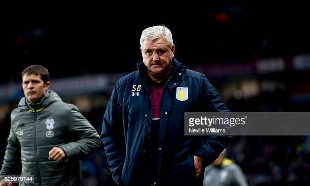 Steve Bruce manager of Aston Villa during the Sky Bet Championship match between Aston Villa and Cardiff City at Villa Park on November 26, 2016 in...