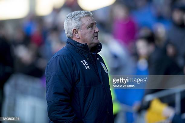 Steve Bruce manager of Aston Villa during the Sky Bet Championship match between Cardiff City and Aston Villa at the Cardiff City Stadium on January...