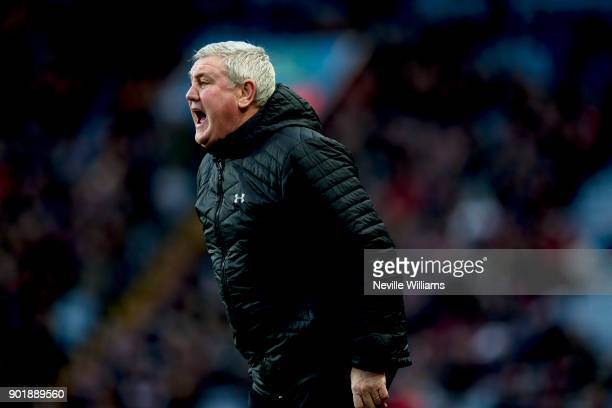 Steve Bruce manager of Aston Villa during the The Emirates FA Cup Third Round match between Aston Villa and Peterborough United at Villa Park on...