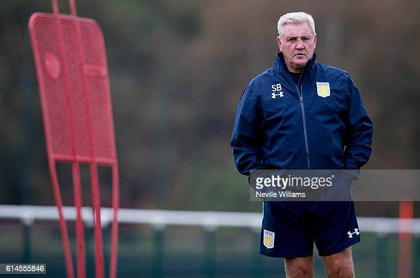 Steve Bruce manager of Aston Villa in action during a Aston Villa training session at the club's training ground at Bodymoor Heath on October 14 2016...
