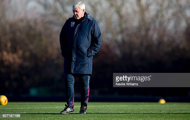 Steve Bruce manager of Aston Villa in action during a Aston Villa training session at the club's training ground at Bodymoor Heath on December 02,...