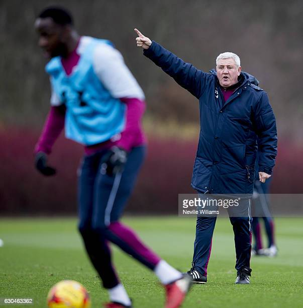 Steve Bruce manager of Aston Villa in action during a Aston Villa training session at the club's training ground at Bodymoor Heath on December 23...