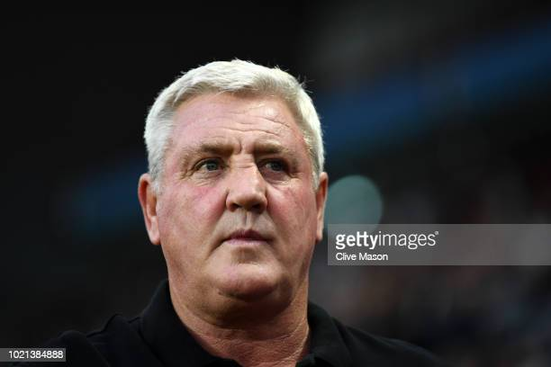 Steve Bruce, Manager of Aston Villa looks on prior to the Sky Bet Championship match between Aston Villa and Brentford at Villa Park on August 22,...
