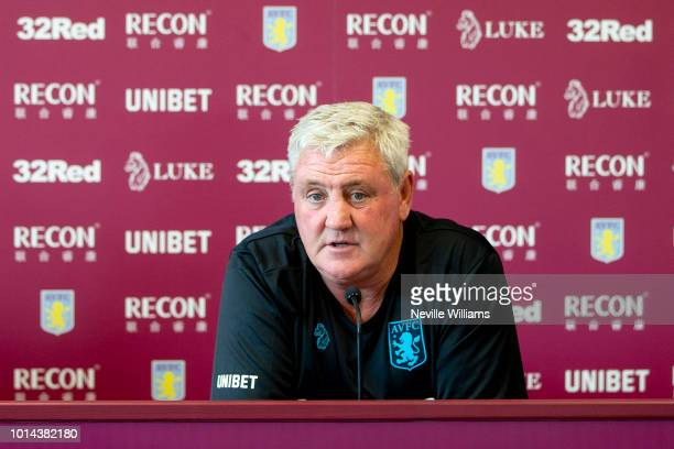 Steve Bruce manager of Aston Villa talks to the press during a press conference at the club's training ground at Bodymoor Heath on August 10 2018 in...