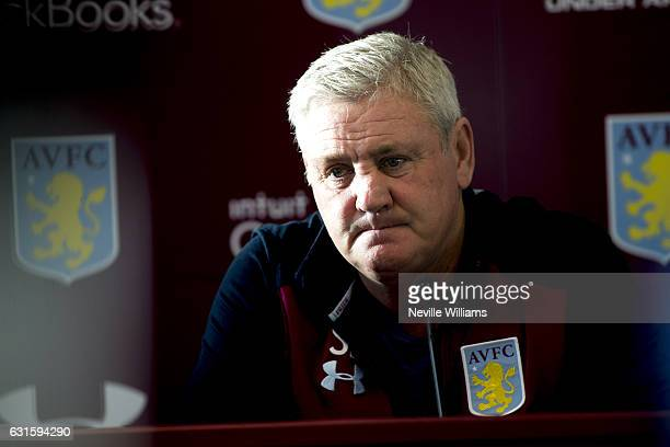 Steve Bruce manager of Aston Villa talks to the press during a press conference at the club's training ground at Bodymoor Heath on January 13 2017 in...