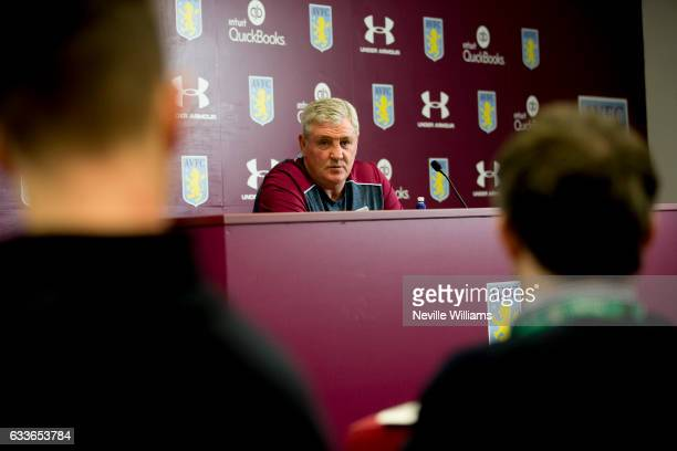 Steve Bruce manager of Aston Villa talks to the press during a press conference at the club's training ground at Bodymoor Heath on February 03 2017...