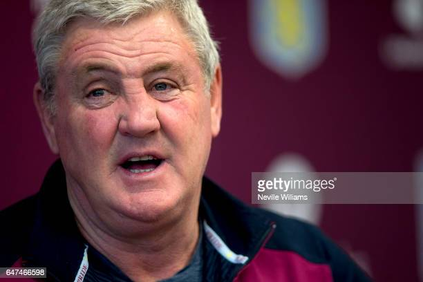 Steve Bruce manager of Aston Villa talks to the press during a press conference at the club's training ground at Bodymoor Heath on March 03 2017 in...