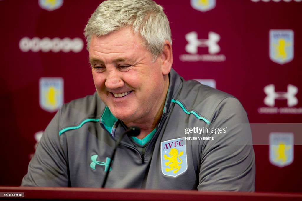 Steve Bruce, manager of Aston Villa talks to the press during a press conference at the club's training ground at Bodymoor Heath on January 12, 2018 in Birmingham, England.
