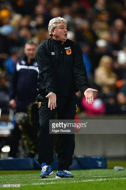 Steve Bruce manager of Hull City reacts during the Barclays Premier League match between Hull City and Leicester City at KC Stadium on December 28...