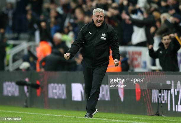 Steve Bruce Manager of Newcastle United celebrates his teams opening goal during the Premier League match between Newcastle United and Manchester...