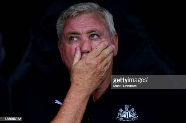 Steve Bruce, Manager of Newcastle United in the dugout ahead of the Pre-Season Friendly match between Hibernian FC and Newcastle United FC at Easter...