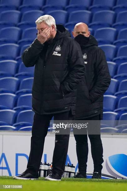 Steve Bruce, Manager of Newcastle United looks dejected during the Premier League match between Brighton & Hove Albion and Newcastle United at...