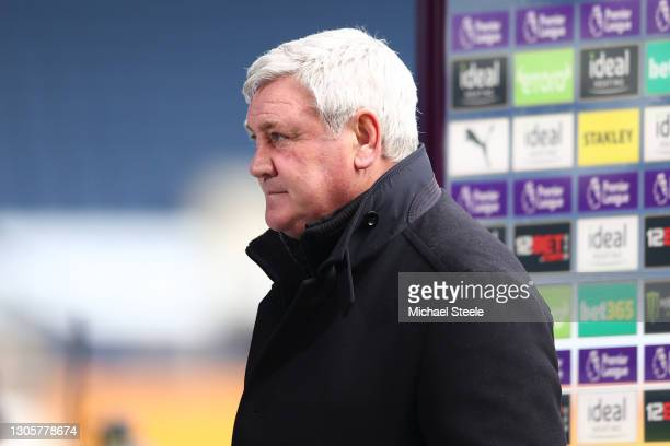 Steve Bruce, Manager of Newcastle United looks on during a TV interview prior to the Premier League match between West Bromwich Albion and Newcastle...