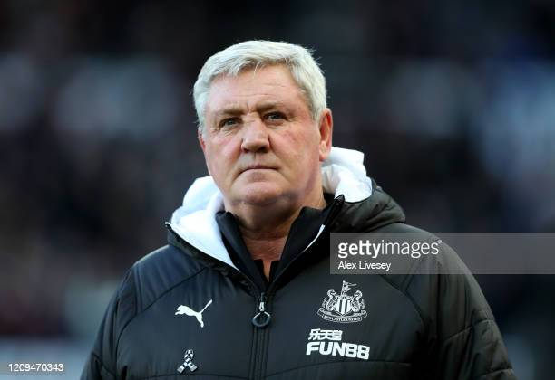 Steve Bruce, Manager of Newcastle United looks on prior to the Premier League match between Newcastle United and Burnley FC at St. James Park on...