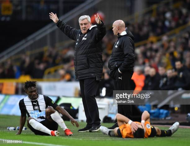 Steve Bruce, Manager of Newcastle United reacts as Joao Moutinho of Wolverhampton Wanderers is injured during the Premier League match between...