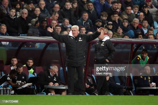 Steve Bruce manager of Newcastle United reacts during the Premier League match between Aston Villa and Newcastle United at Villa Park on November 25,...