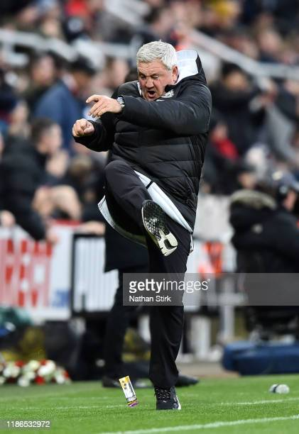 Steve Bruce, Manager of Newcastle United reacts during the Premier League match between Newcastle United and AFC Bournemouth at St. James Park on...