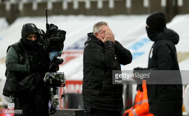 Steve Bruce, Manager of Newcastle United reacts during the Premier League match between Newcastle United and Crystal Palace at St. James Park on...