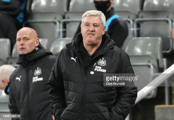 Steve Bruce, Manager of Newcastle United reacts during the Premier League match between Newcastle United and Aston Villa at St. James Park on March...