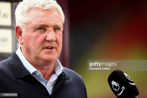 Steve Bruce manager of Newcastle United speaks to the media after the Premier League match between Watford FC and Newcastle United at Vicarage Road...