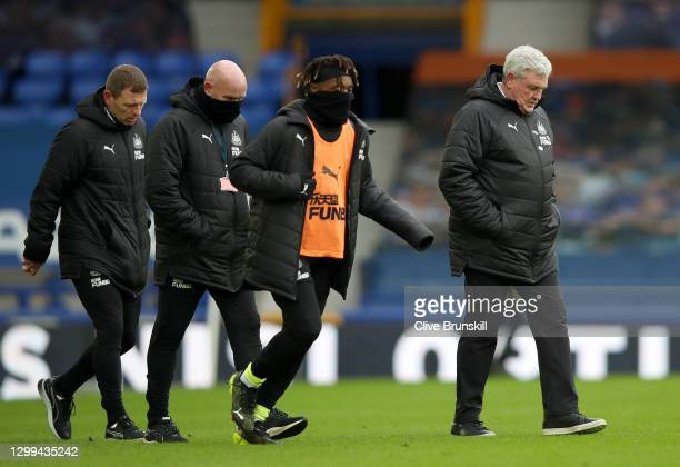 Steve Bruce, Manager of Newcastle United walks off at half time during the Premier League match between Everton and Newcastle United at Goodison Park...