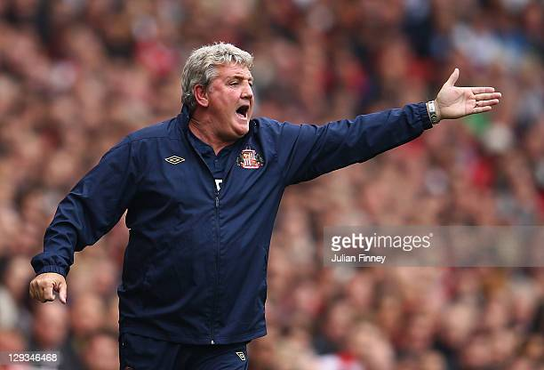 Steve Bruce manager of Sunderland shouts during the Barclays Premier League match between Arsenal and Sunderland at the Emirates Stadium on October...