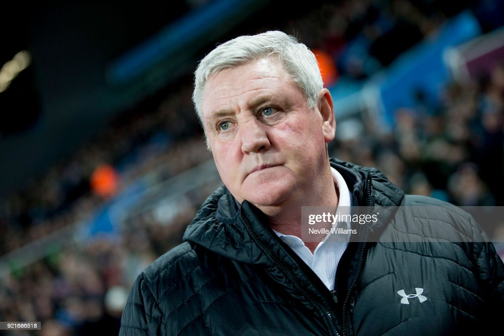 Steve Bruce manger of Aston Villa during the Sky Bet Championship match between Aston Villa and Preston North End at Villa Park on February 20, 2018 in Birmingham, England.