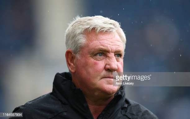 Steve Bruce the manager of Newcastle United looks on during a pre-season friendly match between Preston North End and Newcastle United at Deepdale on...