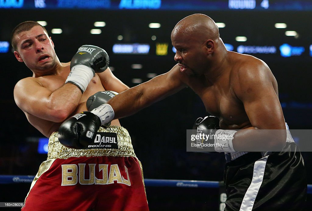 Steve Bujaj and Zeferino Albino exchange punches on March 9, 2013 at Barclays Center in the Brooklyn borough of New York City.