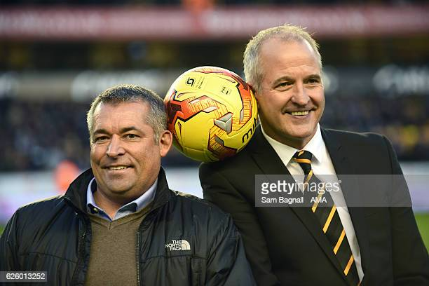 Steve Bull and Andy Thompson recreate their old Wolves image during the Sky Bet Championship match between Wolverhampton Wanderers and Sheffield...