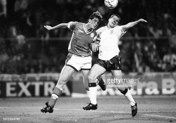 Steve Bull of England in action against Kent Nielsen of Denmark during an International Friendly match at Wembley Stadium on May 15 1990 in London...